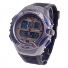 OHSEN AD1301 Stylish Men's Sport Analog + Digital Quartz Wrist Watch - Black + Blue (1 x CR-2025)