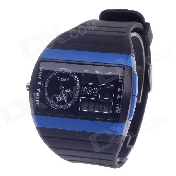 OHSEN AD1305 Multifunction Analog + Digital Display Waterproof Wrist Watch - Black (1 x CR-2025)