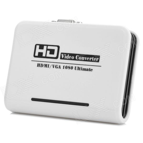 1080P HDMI a VGA / Audio y salida de audio HD Video Converter - Blanco + Negro