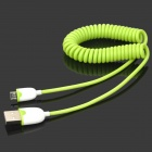 USB to Micro USB Charging Spring Cable for Samsung / HTC - Green + White