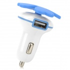 Quatroleavian Style Dual USB Car Cigarette Lighter Charger - Blue + White (DC 12V)
