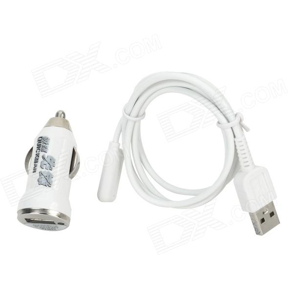 USB Car Charging w/ Magnetic Charging Cable for Sony XL39H - White (12~24V)