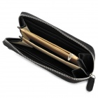 3553 Multilayer Woven PU Long Pouch Clutch for Women - Black