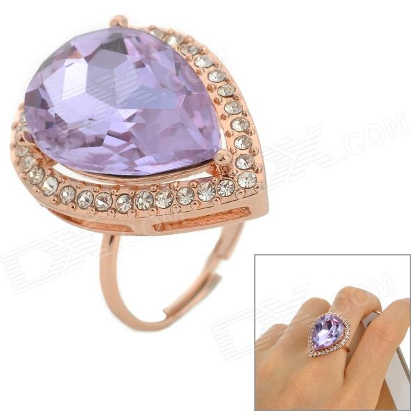 Zinc Alloy Artificial Crystal Finger Ring - Purple + Golden artificial jade embossed ring