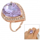 Zinc Alloy Artificial Crystal Finger Ring - Purple + Golden