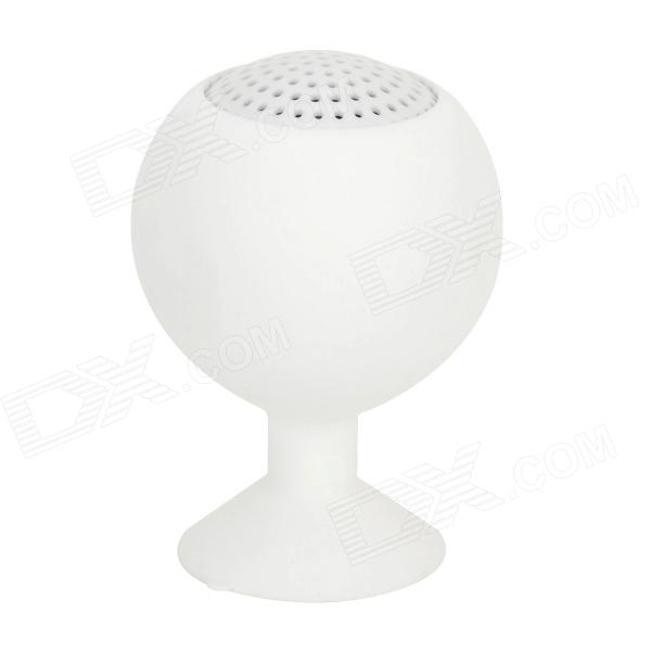 3.5mm Mini Portable Suction Cup 2-Channel Speaker - White portable rechargeable 2 channel speaker w suction cup black white