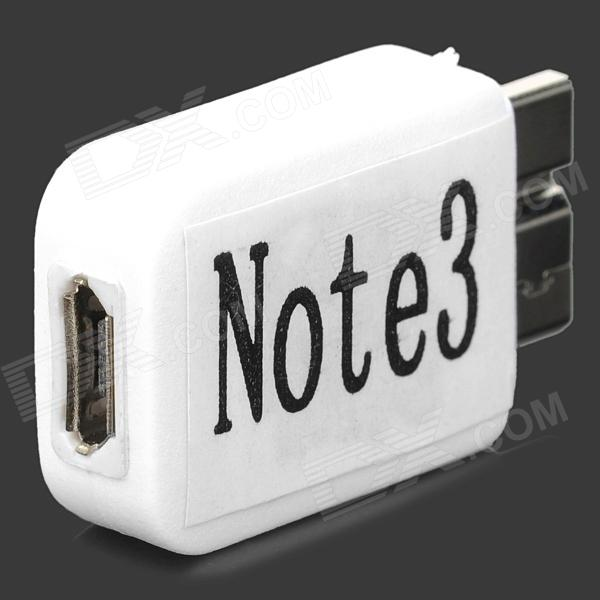 Micro USB Female to Micro USB 3.0 9-Pin Male Adapter for Samsung Galaxy Note 3 N9000 - White mini style micro usb 5 pin female to micro 11 pin male adapter for samsung galaxy golden