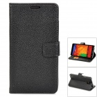 Protective Flip Open PU Leather Case w/ Stand / Card Slots for Samsung Galaxy Note 3 N9000 - Black