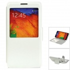 Protective PU Leather Case w/ Stand / Display Window for Samsung Note 3 - White