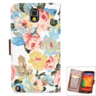 Protective Flip Open PU Case w/ Card Slots for Samsung Galaxy Note 3 - Multicolored