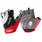 Spakct Cycling Mesh Fabric + Lycra + Leather Short-finger Gloves - Red + Black + White (Pair / L)