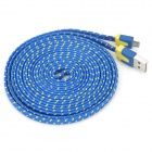 USB Male to Micro USB Male Nylon Data Charging Cable for Samsung + More - Blue + Yellow (300 cm)