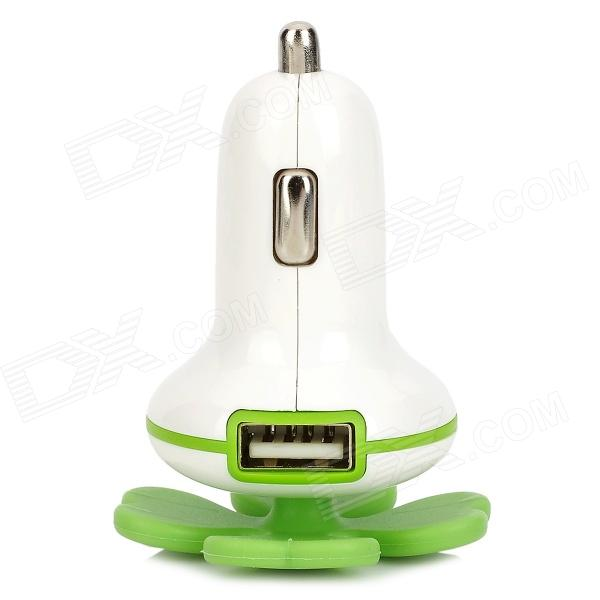 Quatroleavian Style Dual USB Car Cigarette Lighter Charger - Green + White (DC 12V) 2a dual usb car cigarette lighter charger white golden multi colored