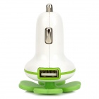 Quatroleavian Style Dual USB Car Cigarette Lighter Charger - Green + White (DC 12V)