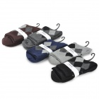 Men's Cozy Diamond Grid Warm Cotton Socks - Multicolored (5 Pairs)