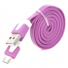 Y-10Z Micro USB Male to USB Male Flat Charging Data Cable for Samsung + More - Purple (99 cm)