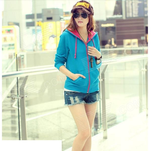 Woman's Fashionable Zipper Cotton Blazer w/ Hood - Blue + Deep Pink