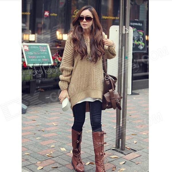 YLY-DXH-406-030# Woman's Fashionable Uneven Orlon Knitwear Sweater w/ Hood - Khaki
