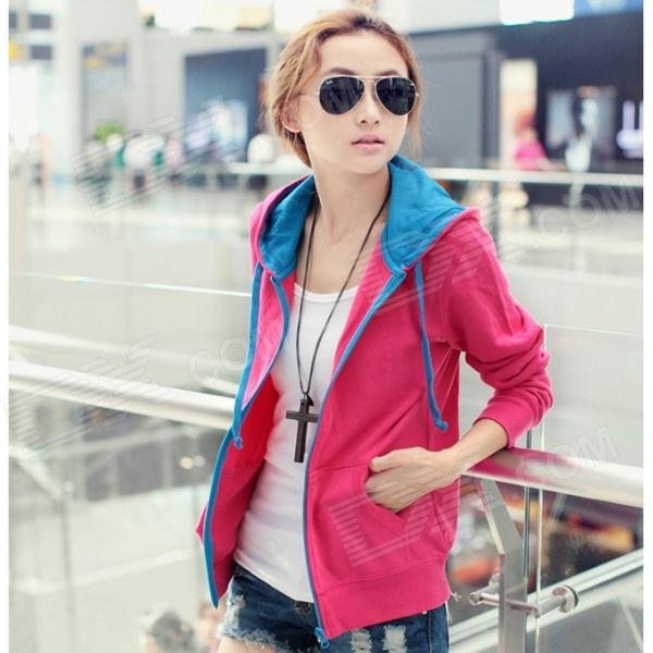Woman's Fashionable Zipper Cotton Blazer w/ Hood - Blue + Deep Pink (L)