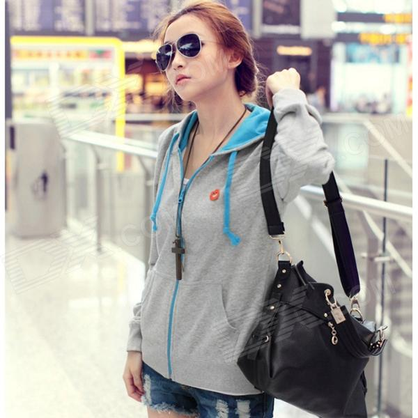 Woman's Fashionable Zipper Cotton Blazer w/ Hood - Grey + Blue (L)
