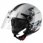 LS2 302 Motorcycle Safety Helmet - White + Black (Size XL)