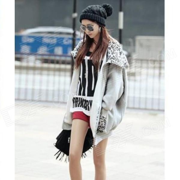 Woman's Fashionable Leopard Print Zipper Cotton Blazer w/ Hood - Grey