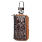 Stylish Crocodile Pattern Car Key Storage PU Bag - Brown