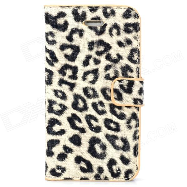 Stylish Leopard Style Protective PU Leather + Plastic Case for Iphone 4 / 4S - Beige + Black protective pu leather plastic case w display window for iphone 4 4s maroon