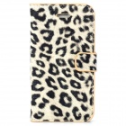 Stylish Leopard Style Protective PU Leather + Plastic Case for Iphone 4 / 4S - Beige + Black