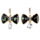 SHIYING D05133 Stylish Bowknot w/ Shiny Crystal Pendant Earrings - Black (2 PCS)