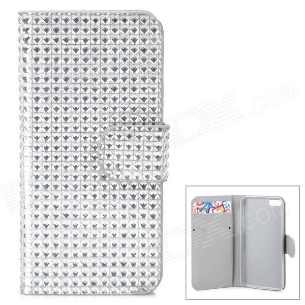 Shining Rhinestone Protective PU Leather + Plastic Case for Iphone 5 / 5s / 5c - Silver Grey ipega i5056 waterproof protective case for iphone 5 5s 5c orange yellow