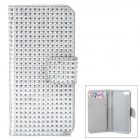 Shining Rhinestone Protective PU Leather + Plastic Case for Iphone 5 / 5s / 5c - Silver Grey