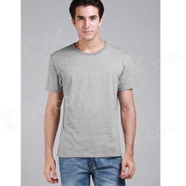 Men's Basic Plain Comfortable Combed Cotton T-shirt - Grey (M)