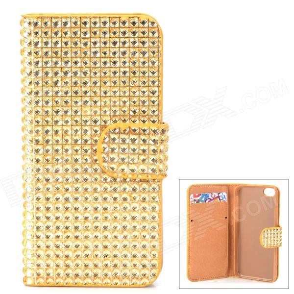 Shining Rhinestone Protective PU Leather + Plastic Case for Iphone 5 / 5s / 5c - Golden ipega i5056 waterproof protective case for iphone 5 5s 5c orange yellow