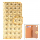 Shining Rhinestone Protective PU Leather + Plastic Case for Iphone 5 / 5s / 5c - Golden