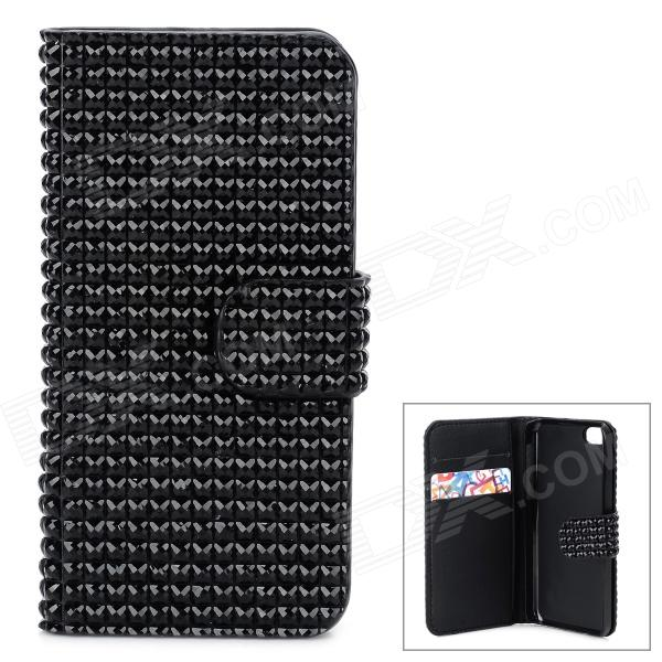 Shining Rhinestone Protective PU Leather + Plastic Case for Iphone 5 / 5s / 5c - Black stylish protective pu leather case for iphone 5c white transparent black