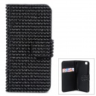Shining Rhinestone Protective PU Leather + Plastic Case for Iphone 5 / 5s / 5c - Black