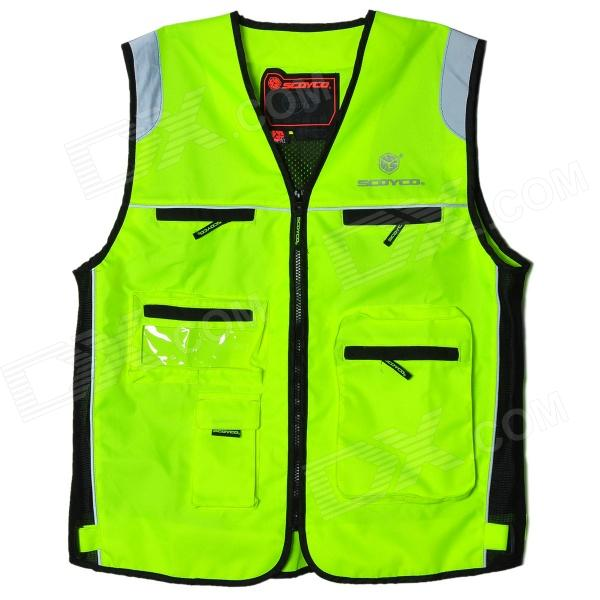 SCOYCO Outdoor Motorcycle Reflective Warning Vest - Fluorescent Green (Size XL)