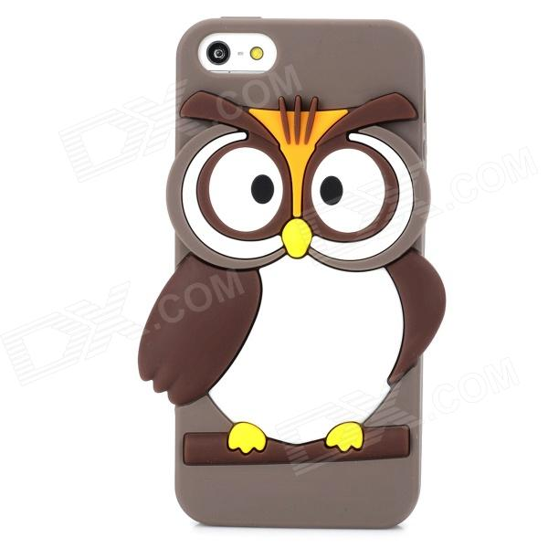 Cute Owl Style Protective Silicone Back Case for Iphone 5 / 5s - Grey Brown creative protective abs back case w cigarette lighter for iphone 5 5s grey silver