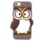 Cute Owl Style Protective Silicone Back Case for Iphone 5 / 5s - Grey Brown