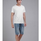 Men's Basic Plain Comfortable Combed Cotton T-shirt - White (XL)