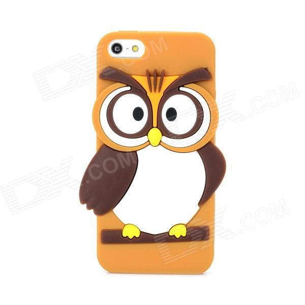 Cute Owl Style Protective Silicone Back Case for Iphone 5 / 5s - Brown ipega i5056 waterproof protective case for iphone 5 5s 5c pink