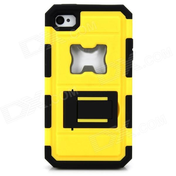 Protective Silicone + PC + Iron Back Case w/ Holder + Bottle Opener for Iphone 4S - Yellow + Black detectable 8x telescope w tripod back case for iphone 4 4s white silver black