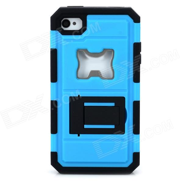 Protective Silicone + PC + Iron Back Case w/ Holder + Bottle Opener for Iphone 4 / 4S - Blue + Black 2 in 1 protective silicone pc back case w holder for iphone 6 purple black