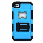Protective Silicone + PC + Iron Back Case w/ Holder + Bottle Opener for Iphone 4 / 4S - Blue + Black
