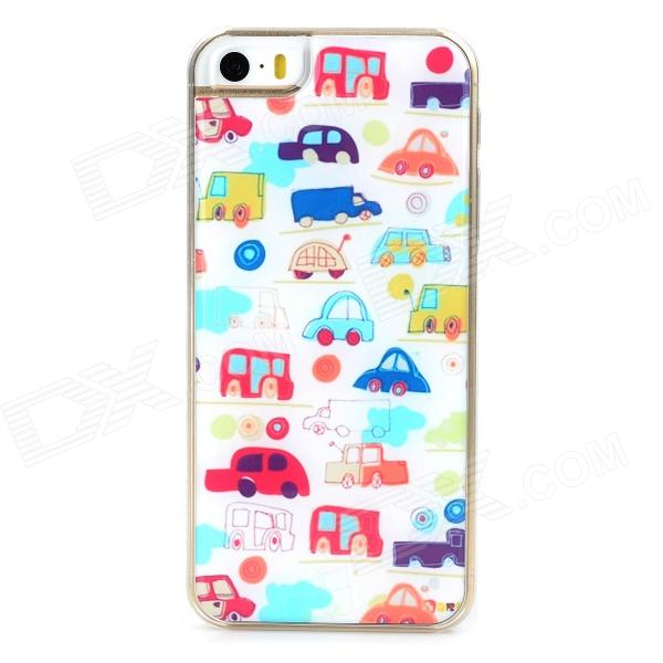 Cartoon Car Style Protective Epoxy Back Case for Iphone 5 / 5s - White + Red cute marshmallow style silicone back case for iphone 5 5s yellow white