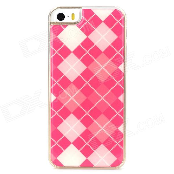 Checked Style Protective Epoxy Back Case for Iphone 5 / 5s - Deep Pink