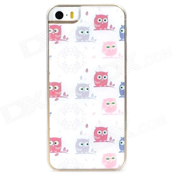 Cute Owl Pattern Protective Epoxy Back Case for Iphone 5 / 5s - White cute owl pattern tpu back case for iphone 6 plus 5 5 yellow orange multi color