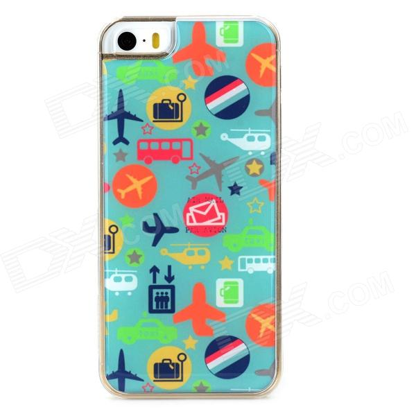 Airplane & Taxi Pattern Protective Epoxy Back Case for Iphone 5 / 5s - Green