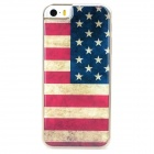 US National Flag Style Protective Epoxy Back Case for Iphone 5 / 5s - Red + Blue